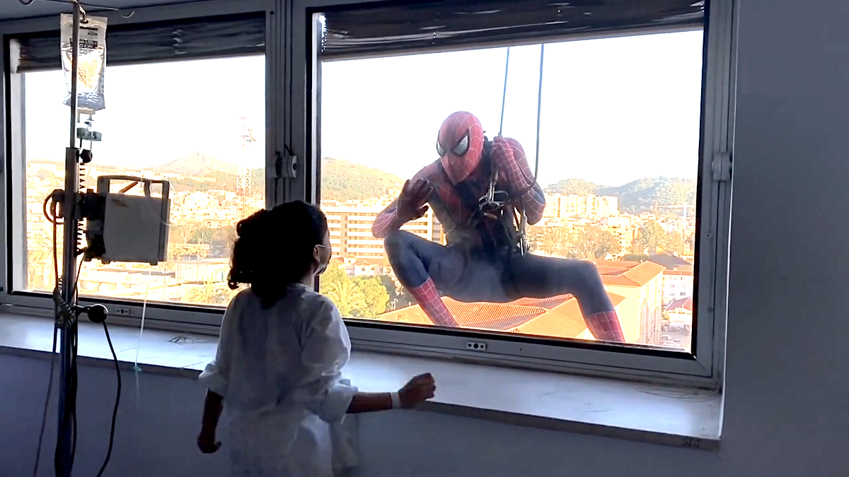 Spiderman visits children with cancer